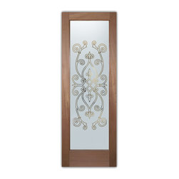 """Interior Glass Doors - Frosted Obscure CORAZONES PS - CUSTOMIZE YOUR INTERIOR GLASS DOOR!  Interior glass doors ship for just $99 to most states, $159 to some East coast regions, custom packed and fully insured with a 1-4 day transit time.  Available any size, as interior door glass insert only or pre-installed in an interior door frame, with 8 wood types available.  ETA will vary 3-8 weeks depending on glass & door type.........Block the view, but brighten the look with a beautiful interior glass door featuring a custom frosted glass design by Sans Soucie!   Select from dozens of sandblast etched obscure glass designs!  Sans Soucie creates their interior glass door designs thru sandblasting the glass in different ways which create not only different levels of privacy, but different levels in price.  Bathroom doors, laundry room doors and glass pantry doors with frosted glass designs by Sans Soucie become the conversation piece of any room.   Choose from the highest quality and largest selection of frosted decorative glass interior doors available anywhere!   The """"same design, done different"""" - with no limit to design, there's something for every decor, regardless of style.  Inside our fun, easy to use online Glass and Door Designer at sanssoucie.com, you'll get instant pricing on everything as YOU customize your door and the glass, just the way YOU want it, to compliment and coordinate with your decor.   When you're all finished designing, you can place your order right there online!  Glass and doors ship worldwide, custom packed in-house, fully insured via UPS Freight.   Glass is sandblast frosted or etched and bathroom door designs are available in 3 effects:   Solid frost, 2D surface etched or 3D carved. Visit our site to learn more!"""