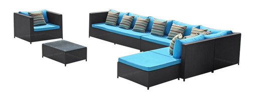 Fine Mod Imports - Garden 7PC Outdoor Sectional Set with Blue Cushions - Features: