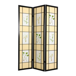 Oriental Unlimted - 6 ft. Tall Herbal Floral Shoji Screen (Rosewood / 4 Panels) - Finish: Rosewood / 4 PanelsBring a bit of nature into your home with this six-foot tall Shoji screen. Its botanical themed rectangles are surrounded by cream color panes of fiber-reinforced paper. Choose the number of panels you want from our list. Spruce wood frame has a black finish. Screens may vary slightly in color. The Herbal Floral room divider is a light and airy floor screen. Decorated with images of herbs and flowers. Crafted from durable, lightweight Scandinavian Spruce. Using Asian style mortise and tenon joinery. The shade is opaque fiber reinforced paper. Provides complete privacy. Lacquered brass, 2-way hinges mean you can bend the panels in either direction. Pictured in 3 panels. Black finish. Assembly required. Each panel: 17.5 in. W x .75 in. D x 72 in. H. 3 Panels: 53 in. wide (flat). Approximately 45 in. wide with panels folded to stand upright