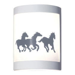 A19 - Cheyenne Wall Sconce - What could be more majestic than a heard of wild Mustangs galloping across the wide open spaces of the American West? Cheyenne captures their beauty, strength, and glorious movement. The image is reverse-painted on a translucent white film and framed in ceramic. The effect is refreshing yet dramatic. The frame is also available in a number of colors and faux finishes ranging from rustic metals to rich glossy glaze.