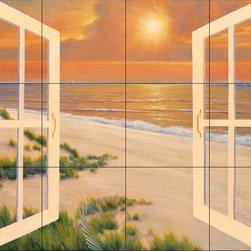 The Tile Mural Store (USA) - Tile Mural - Dr-Window Of Dreams - Kitchen Backsplash Ideas - This beautiful artwork by Diane Romanello has been digitally reproduced for tiles and depicts a windowbox with an ocean background.  Beach scene tile murals are great as part of your kitchen backsplash tile project or your tub and shower surround bathroom tile project. Waterview images on tiles such as tiles with beach scenes and sunset scenes on tiles.  Tropical tile scenes add a unique element to your tiling project and are a great kitchen backsplash  or bathroom idea. Use one or two of our beach scene tile murals for a wall tile project in any room in your home for your wall tile project.