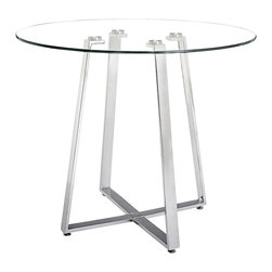 "Zuo - Zuo Lemon Drop Steel and Tempered Glass Counter Table - Zuo Lemon Drop Steel and Tempered Glass Counter Table  Tempered glass top.  Chromed steel tube base.  X-design legs.  Some assembly required.  40"" wide.  36 1/2"" high."