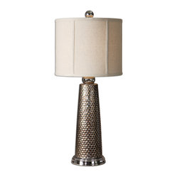 Uttermost - Nenana Golden Bronze Buffet Lamp - Metal mesh makes a distinctive statement in your decor. This intriguing lamp, designed by Carolyn Kinder, brings texture, shine and chic to a buffet or console table.