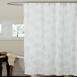 Lush Decor - Lush Decor Samantha White Shower Curtain - Bring the outdoors inside in an elegant fashion when you add this white shower curtain to your bathroom's decor. The microfiber curtain features a subtle floral embroidery that adds depth to the surface without appearing too busy of a pattern.