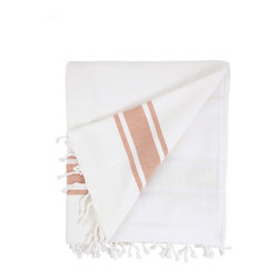 Nine Space - Ocean Terry Beach Towel, Orange - Made for sharing, this oversized fouta towel easily accommodates you and a guest. Smooth Turkish cotton on the front naturally repels sand, while the flip side is lined with thick, absorbent cotton terry to wrap you in softness.