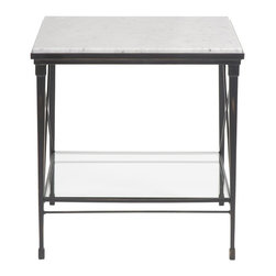 Vanguard - Grimes Lamp Table / Stone Top - Forged Bronze Finish (Stocked Finish)
