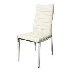 Pastel Furniture - Pastel Trinity Side Chair in Ivory in Angel Twig - Trinity side chair upholstered in ivory - TI-110-CH-978.  Product features: Belongs to Trinity Collection; Contemporary Style; Side Chair; Steel Frame: Chrome Finish; Pu Ivory Seat; This item is packaged 4 per carton and must be ordered in sets of 4; Manufacture Warranty: 1 year. Product includes: Side Chair (4). Side Chair in Ivory in Angel Twig belongs to Trinity Collection by Pastel.