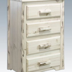 "Montana Woodworks - Montana Chest, 4 Drawer, Lacquered - This four drawer chest features easy glide drawer slides and spacious drawers (21.75"" W x 16.375"" D x 5.25"" H) to hold the essentials of everyday life and more. This chest is sure to please while taking up a minimum of your home's floor space. Handcrafted in Montana using solid, U.S. grown wood and hand peeled, genuine lodge pole pine accents and drawer pulls, these chests of drawers are true heirloom quality; designed and built to last a lifetime. Comes fully assembled. 20-year limited warranty included at no additional charge. Hand Crafted in Montana U.S.A.; Solid, U.S. grown wood; Skip-peeled by hand using old fashioned draw knives.; Heirloom Quality; 20 Year Limited Warranty; Durable Build, Fit and Finish; Each Piece Signed By The Artisan Who Makes It; Solid Wood, Edge Glued Panels; Easy Glide Drawer Slides and Lodge Pole Log Trim. Dimensions: 32""W x 21""D x 42""H"
