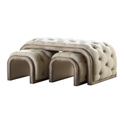 Hooker - Hooker Melange 3-Piece Brantley Tufted Cocktail Ottoman - Comfort and convenience never looked so chic - prop up your feet, perch your tray and provide extra seating with this Brantley Tufted Cocktail Ottoman.