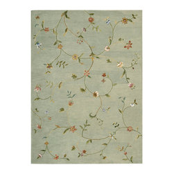"""Nourison - Nourison Modern Elegance LH02 5'6"""" x 7'5"""" Sage Area Rug 04630 - A soft sage green background is gorgeously illuminated by a beautiful floral pattern in glowing shades of pink, peach, green, blue and gold. With faux silk embellishments to intensify key components of the design, this extravagant hand-tufted New Zealand wool pile rug is a dramatic study of depth and detail."""