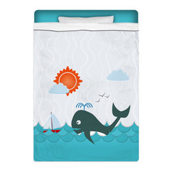 "Eco Friendly Twin Size ""Whale Watching"" Kids Sheet Set - Twin Size ""Whale Watching"" Kids Sheet Set from our Seaside Bed and Bath Collection is made of a lightweight microfiber for the ultimate experience in softness~ extremely breathable!"