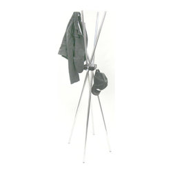 Proman Products - Studio Four Coat Tree - Stylish and modern. Poles for hanging clothes. Hooks for hanging other accessories. Four chrome bars with square solid wood center block. Made from wood and chrome. Chrome and walnut finish. 17 in. L x 17 in. W x 66.5 in. H