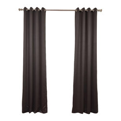 Exclusive Fabrics & Furnishings - Anthracite Grey Grommet Blackout Curtain - SOLD PER PANEL. 100% Polyester. Finished With 8 Nickel Finish Grommets. Unlined. Imported. Weighted Hem. Dry Clean Only.