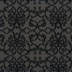 Walls Republic - Ornate Grey & Black Wallpaper R1535, double roll - Inspired by wrought-iron fences seen around the garden, Ornate will match a variety of traditional designs. The intricate line work and swirling forms give it a lavish & lush garden ambiance. Use it in your dining room for an elegant banquet experience.