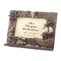 """Pirate Picture Frame - The pirate picture frame fits a 4"""" x 6"""" picture. It features a skull  cross bones, ship wheel, tall ship, parrot  treasure. It will add a definite nautical touch to whatever room it is placed in and is a must have for those who appreciate high quality nautical decor. It makes a great gift, impressive decoration and will be admired by all those who love the sea."""