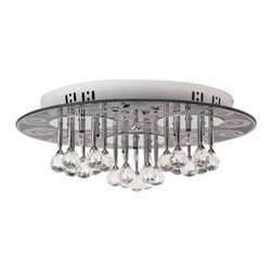 Globe Electric - Globe Electric 64300 Crystal 3 Light Flushmount Ceiling Fixture with Black Detai - Features: