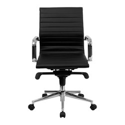 Flash Furniture - Flash Furniture Office Chairs Leather Executive Swivels X-GG-KB-M6289-TB - This elegant office chair will add an upscale appearance to your office. The comfort molded seat has built-in lumbar support and features a locking tilt mechanism for a mid-pivot knee tilt. This chair features dual paddle controls to easily adjust your chair and an integrated bar in the back to keep your jacket within reach. If you're looking for a modern office chair that provides a sleek look, then the Ribbed Upholstered Leather Office Chair by Flash Furniture delivers. [BT-9826M-BK-GG]