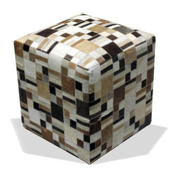 Loominary - Cowhide ottoman - Tell your other ottoman to moo-ve over — this one is the hippest square around. Covered in natural cowhide, it offers a bold pop of pattern and lots of texture wherever it sits.