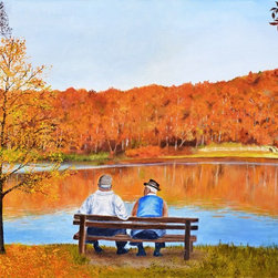 "Hear2heaL Gallery and Frame - Autumn Reflections Fine Art Retirement Friends by Patsy Stump - Artist Patsy Stump's late husband spent many hours sitting and talking with his friend.  Patsy painted this autumn landscape with two men enjoying each other's company in her husband's memory.  S/N and Certificate of Authenticity included with Canvas or Fine Art Giclees.  Hear2heaL Giclees are printed with Epson Ultrachrome HDR archival inks.  Movable Giclee Prints are waterproof, UV treated, leave no residue and are printed on PhotoTex with HP Archival Inks.  Canvas giclees are shipped rolled in a tube and printed with 2"" mirrored edges to give your framer the gallery wrap option when stretching your canvas (canvas only, does not pertain to prints)."