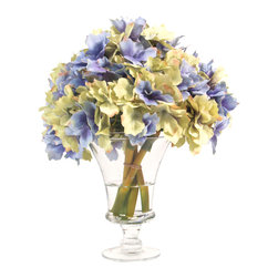 Inspired Living - Blue and Green Hydrangea in Unique Glass Vase - This is an elegant contemporary arrangement with blue and green hydrangeas in a thin, clear glass vase with acrylic water.