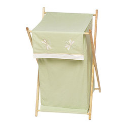 "Sweet Jojo Designs - Green Dragonfly Dreams Hamper - The Green Dragonfly Dreams Hamper by Sweet Jojo Designs will add a designers touch to any childs room. This childrens laundry clothes hamper has a wooden frame, mesh liner, and a fabric cover.The removable hamper body is secured to the wooden frame with corner loops and Velcro. The wooden stand folds flat for space-saving storage and the removable mesh liner is great for toting laundry.Dimensions: 15.5"" Length x 16"" Width x 26.5"" Height.If you like the Green Dragonfly Dreams Hamper Hamper, dont forget to check out the other items in the collection."