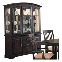 Coaster - Coaster Monaco China Cabinet with Doors and Drawers in Rich Dark Cappuccino - Coaster - China Cabinets - 100184 - The Monaco collection will blend beautifully with your home decor. With a transitional contemporary style these dining pieces will complement many different looks. The pieces are crafted of birch veneers with a dark Cappuccino finish the adds depth to any space. Clean smooth lines gentle curves and distinctive slats give this subtly mission inspired collection a look that you will love. With comfortable details and plenty of storage these formal dining pieces are both functional and stylish. Add this collection to your home for the perfectly inviting dining room you have always dreamed of. This beautiful china cabinet will add great storage space to your formal dining room without compromising style. The elegant piece has a simple contemporary look with smooth clean lines and soft curves. The lower buffet portion features two large wooden doors for plenty of enclosed storage perfect for linens and other larger dining items with three deep drawers in the center offering additional space and accented with smooth metal hardware. The hutch features three large glass doors and glass curio ends to let in lots of light. Three spacious shelves inside are perfect for storing and displaying dishes stemware and decorative items. A mirrored back panel helps to illuminate the interior. Finished in a rich dark Cappuccino this piece gets a soft touch with a curved crown and apron keeping the piece in balance. Add this gorgeous buffet with hutch to your dining room for a look that is truly your own.Features: