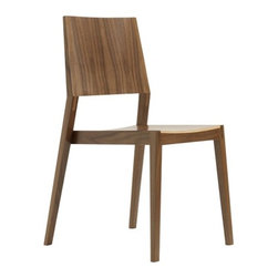 Room B - Side Chair - The first installment in the Chair 1 Series is Chair 1A. Chair 1A is a clean, modern dining chair with signature legs and exposed joinery. It combines the durability of a solid hardwood frame with the lightness and strength of a moulded plywood seat and backrest. It achieves a perfect balance of design and ergonomics. The Chair 1 Series consists of 3 chairs varying in design and style while utilizing interchangeable components in their construction. Using interchangeable parts reduces set up times, labor, and most importantly material waste, which all contribute to sustainable and responsible production. All 3 chairs are shipped fully assembled and are stackable. Stacking also makes them ideal in a variety of environments - both in public spaces, restaurants, caf s and in the home. Features: -Available in several woods.-Solid hardwood frame.-Stackable.-High quality craftsmanship and clean modern design.-Made in Canada.-Available in several colors.-Durable construction made entirely with mortise and tenon joinery and exposed bridal joints.-Collection: Chair 1 Series.-Distressed: No.-Country of Manufacture: Canada.Dimensions: -Seat height: 18''.-Overall dimensions: 34.25'' H x 20.25'' W x 21'' D.Assembly: -No assembly required.