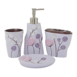 Dream Bath - Dream Bath 4 Piece Elegant Flower Bath Ensemble Bathroom Accessories Set - Dream Bath focuses exclusively on the design and creation of exquisite and practical accessories.