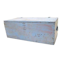 Pre-owned Primitive Painted Wood Trunk - This distressed painted primitive workman's trunk is perfect for storing away unsightly clutter. It features a matte blue finish, brass handles on each end and a hinged top. This vintage; 1910-1950 trunk is in good condition. It is solid with vintage surface wear.
