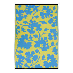 None - Prater Mills Indoor/ Outdoor Reversible Turquoise/ Lemon Yellow Rug - This beautifully crafted rug is made following the fair trade principles. It is made using premium quality recycled plastics which are tightly woven together to offer strength,softness and beauty.
