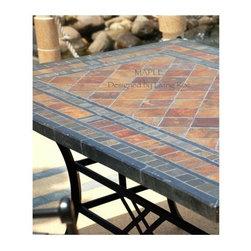 "STONE GARDEN PATIO MOSAIC SLATE TABLE 78""-MAPLE - Reference: OT951-20-US+OTB3-20-US"
