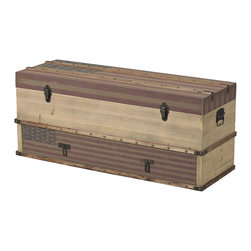 Sterling Industries - National Storage Trunk in Oak Finish with Tea Stain - National-Wooden Storage Trunk with Drawer