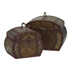 Nearly Natural - Decorative Chests - Set of 2 - Curved abstract floral designs. A delicately detailed floral pattern. An intricately designed handle and clasp. Construction Material: Wood. 9.0 in. W x 6.5 in. D x 9.0 in. H . 12.0 in. W x 8  in. D x 10.0 in. HTake a moment to admire the intricate design work on both boxes. Notice the curved abstract floral designs on the side set against the dark olive background, while the middle is a detailed floral pattern separated by vivid wine colored segmented trim. And to top it off, they come with an intricately designed handle and a clasp to secure belongings. Have you ever seen something so elegant?