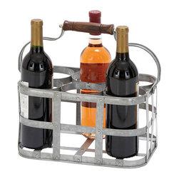 Benzara - Vino Metal Wine Holder 13in.W, 7in.H - Size: 13 wide x 8 depth x 7 high (Inches)