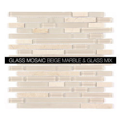 All Marble Mosaic Glass and Stone blend Random Strip 12 x 12 Mosaic Tile Mag-444 - Glass and Stone Blend Mosaic Tiles and Backsplash from All Marble Tiles | All Marble Mosaic Glass and Stone blend Random Strip 12 x 12 Mosaic Tile Mag-4440-ST |  http://AllMarbleTiles.com
