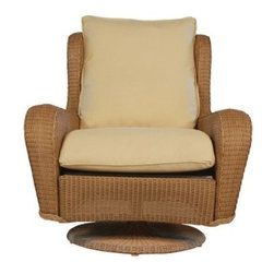 Lloyd Flanders Natchez All-Weather Wicker Hi Back Swivel Rocker - Even if you didn't have a porch, patio, poolside, balcony, veranda or lanai, the Lloyd Flanders Natchez All-Weather Wicker Hi Back Swivel Rocker would be enough to make you go to Home Depot, learn how to mix concrete or frame a deck and build your own. It would be totally worth it, once you sank into the deep cushions of this smooth-moving outdoor rocker. A rust-proof metal frame provides the base for an exterior of resin wicker that gives you a high back, extra-wide arms and a roomy seat from which to view your handiwork. The resin wicker is offered in your choice of classic shades, and the material is designed with a synthetic composition that lets it shrug off the harsh realities of a life outdoors, like cracking, rot and fading. Resin wicker is even so durable, it's used to cover the whole base of the chair. The extra-thick cushions also feature a 21st century touch, as they're filled with a high-performance synthetic fiber that's wrapped in a triple-layer jacket that sheds water so you always have a dry place to relax. Take your pick from the wide range of colors and styles for the cushion covers and customize your latest patio addition. If this style works for you, try other pieces in the Lloyd Flanders Natchez line, like the Lounge Chair or Ottoman.About Lloyd/FlandersCarrying on the traditions of Marshall B. Lloyd, Lloyd/Flanders brings the sophistication of timeless furniture designs to a sophisticated, modern audience. Using modern production processes and materials, these classic styles are faithfully rendered in a way that can be enjoyed by customers anywhere with high-quality construction and reliable, all-weather designs.