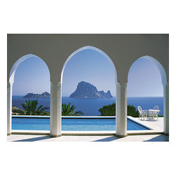 Pool and Arches Mallorca Wall Mural - Make a Mediterranean escape for yourself with this Mallorca mural. The glistening blue Spanish sea can be seen beyond a pool through a bright white gothic arch.
