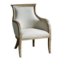 Uttermost Quintus Armchair - Classy and elegant this armchair enhances traditionally-themed room decor and is suitable for dining rooms and fine dining restaurants. The Uttermost Quintus Armchair is made of distressed solid white mahogany wood with antiqued toffee crackle paint finish. It is draped in a soft linen fabric that is blended with cotton and has a comfortable curved armrest. The chair is treated with Teflon to protect it from dust spills and stains.