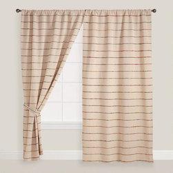 Natural Striped Chambray Sari Curtain -