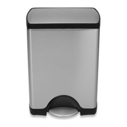 Simplehuman - simplehuman 30-Liter Rectangular Deluxe Step Trash Can - This deluxe edition rectangular trash can features a fingerprint-proof stainless steel lid and is designed for superior durability and strength.