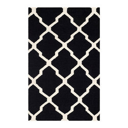 Safavieh - Dhurries Black and Ivory Rectangular: 5 Ft. x 8 Ft. Rug - - This distinctive piece is both stylish and incredibly soft to the touch with bold rich colors that complement any room. Flat-woven by hand in India  - Pile Height: 0.25  - Construction: Flatweave  - Shedding is a normal occurrence and will reduce over time with frequent vacuuming. It is also recommended that you vacuum regularly to prevent dust and crumbs from settling into the roots of the fibers. AVOID DIRECT AND CONTINUOUS EXPOSURE TO SUNLIGHT. USE RUG PROTECTORS UNDER THE LEGS OF HEAVY FURNITURE TO AVOID FLATTENING PILES. DO NOT PULL LOOSE ENDS, CLIP THEM WITH SCISSORS TO REMOVE. TURN CARPET OCCASIONALLY TO EQUALIZE WEAR. REMOVE SPILLS IMMEDIATELY ; IF LIQUID, BLOT WITH CLEAN, UNDYED CLOTH BY PRESSING FIRMLY AROUND THE SPILL TO ABSORB AS MUCH AS POSSIBLE. FOR HARD TO REMOVE STAINS, PROFESSIONAL RUG CLEANING IS RECOMMENDED. STORE IN A DRY, WELL-VENTILATED AREA. USE OF A RUG PAD IS RECOMMENDED. Safavieh - DHU634A-5