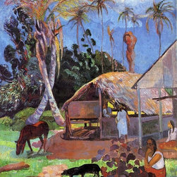 "Paul Gauguin The Black Pigs - 18"" x 24"" Premium Archival Print - 18"" x 24"" Paul Gauguin The Black Pigs premium archival print reproduced to meet museum quality standards. Our museum quality archival prints are produced using high-precision print technology for a more accurate reproduction printed on high quality, heavyweight matte presentation paper with fade-resistant, archival inks. Our progressive business model allows us to offer works of art to you at the best wholesale pricing, significantly less than art gallery prices, affordable to all. This line of artwork is produced with extra white border space (if you choose to have it framed, for your framer to work with to frame properly or utilize a larger mat and/or frame).  We present a comprehensive collection of exceptional art reproductions byPaul Gauguin."