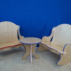 """Children and kids's furniture store - Two Kinder bench (primary colors), and rocker (Purple/pink), with 12"""" table (Purple/pink)."""