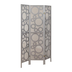 Monarch Specialties - Monarch Specialties 4636 Folding Screen in Silver Frame Bubble Design - A contemporary dividing screen like this is a unique addition to any room in the home. Made with silver solid wood, this screen features a contemporary circle pattern giving an airy and bubbly accent to your space.