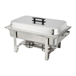 Winco - Winco 8-Quart Newburg Stainless Steel Rectangular Chafing Dish - Entertain in style with the simple and elegant Newburg chafer from Winco. Ideal for serving food in a buffet setting, this oblong 8-quart chafing dish is made of heavyweight stainless steel with a mirror-finished cover.