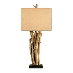 Currey & Company - Driftwood Table Lamp - A very earthy table lamp featuring driftwood and a beige linen shade.