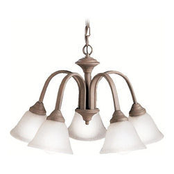 Kichler Lighting - Kichler Chandelier with White Glass in Olde Brick Finish - 2022OB - Transitional olde brick 5-light chandelier. Takes (5) 100-watt incandescent A19 bulb(s). Bulb(s) sold separately. Dry location rated.