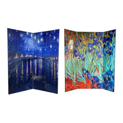 Oriental Unlimted - Double Sided Irises & Starry Night Over Rhone - One double-sided divider, both sides shown in image. High quality wood & fabric covered room divider. Well constructed, extra durable, kiln dried Spruce wood frame panels. Covered top to bottom, front, back and edges, with tough stretched poly-cotton blend canvas. 2 Extra large, beautiful art prints. Printed with fade resistant, high color saturation ink creating 2 stunning, long lasting, vivid images. Powerful visual focal points for any room. Amazingly inexpensive, practical, portable, decorative accessory. Almost entirely opaque, double layer of canvas, providing complete privacy. Easily block light from a bedroom window or doorway. Dimensions: 63 in. W x 72 in. H. Great home decor accent - for dividing a space, redirecting foot traffic, hiding unsightly areas or equipment. Provides a background for plants or sculptures, or use to define a cozy, attractive spot for table and chairs in a larger roomThis lovely fine art screen features the classic impressionist paintings of Dutch master Vincent Van Gogh. The front is considered to be one of Van Gogh's greatest masterpieces, Irises circa 1889 , part of the Getty collection. The back a less well known but equally breathtaking painting, Starry Night Over the Rhone circa 1888, similar to his legendary Starry Night. Adorn your living room, bedroom, dining room, home office or business with these lovely interior design elements. This 4 panel screen has different images on each side.