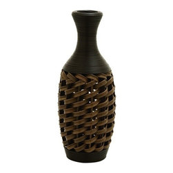 "Benzara - 24"" Flower Vase in Stylish Wicker Woven Pattern - 24"" Flower Vase in Stylish Wicker Woven Pattern. A unique and attractive flower vase woven into a sturdy wicker style pattern."