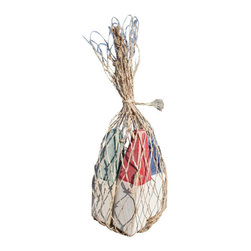 Nautical Wood Miniature Buoys- Blue/White, Red/White, Green/White - Set of three miniature buoys strung with a jute cord and packaged in a genuine fish net bag.